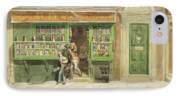 Colourmans Shop, St Martins Lane, 1829 Wc On Paper IPhone Case by George the Elder Scharf