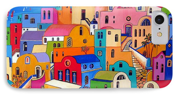 IPhone Case featuring the painting Colours In Santorini by Roberto Gagliardi