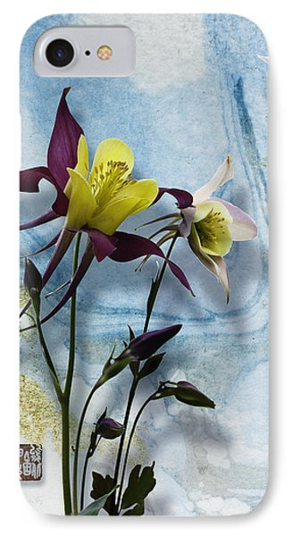 Columbine Blossom With Suminagashi Ink IPhone Case by Peter v Quenter