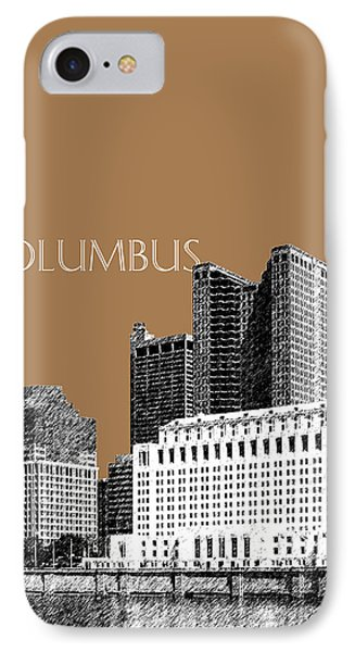 Columbus Skyline - Brown IPhone Case by DB Artist