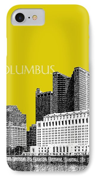 Columbus Skyline - Mustard IPhone Case by DB Artist