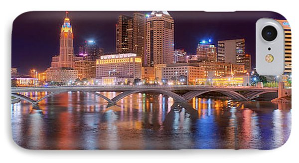 Columbus Skyline At Night Color Panorama Ohio IPhone Case by Jon Holiday