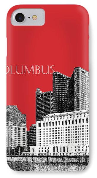 Columbus Skyline - Red IPhone Case by DB Artist
