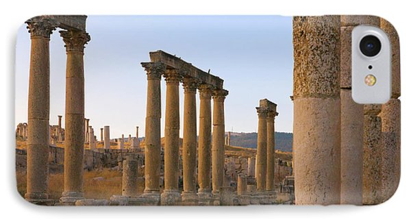 Column Street In Ancient Jerash Ruins IPhone Case