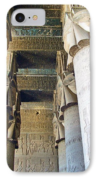 Columns In Temple Of Hathor Near Dendera In Qena-egypt IPhone Case by Ruth Hager