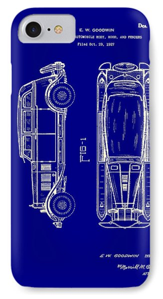 Combination Automobile Body Hood And Fenders Patent 1928 IPhone Case by Mountain Dreams