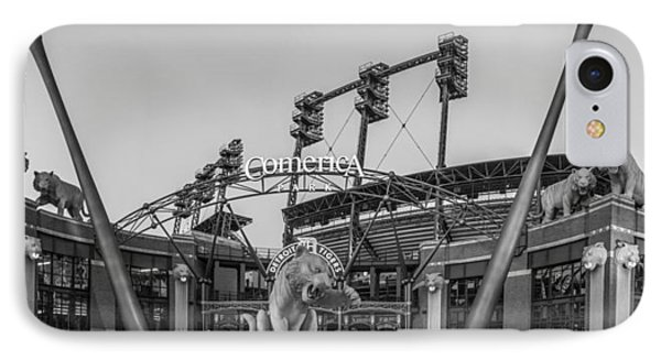 Comerica Park Black And White IPhone Case by John McGraw