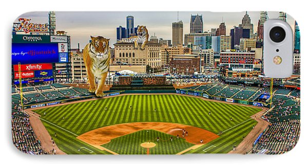 IPhone Case featuring the photograph Comerica Park Detroit Mi With The Tigers by Nicholas  Grunas