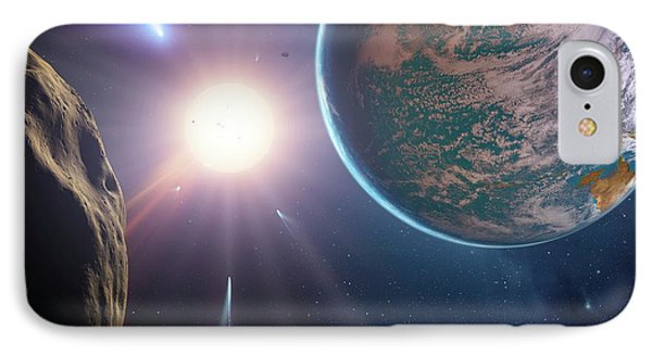 Comet Approaching Earth-like Planet IPhone Case by Detlev Van Ravenswaay