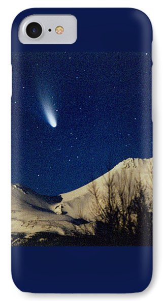 Comet Hale Bopp Rising Over Mount Shasta 01 Phone Case by Patricia Sanders