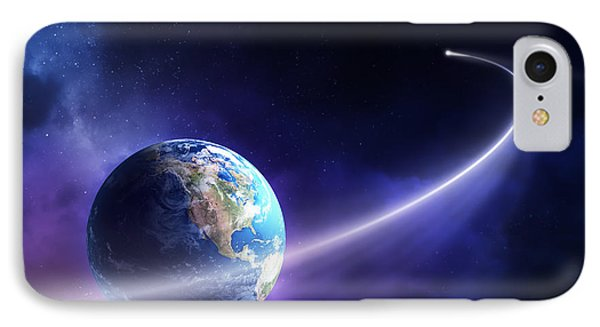 Comet Moving Past Planet Earth IPhone Case