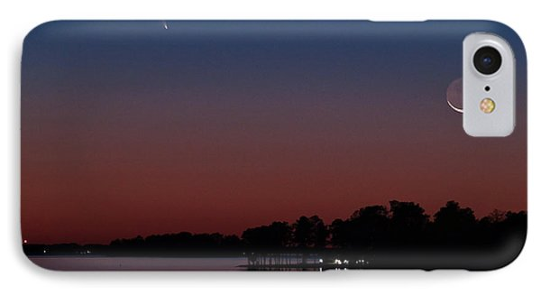 Comet Panstarrs And Crescent Moon IPhone Case by Charles Hite