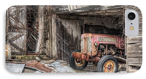 Comfortable Chaos - Old Tractor At Rest - Agricultural Machinary - Old Barn Phone Case by Gary Heller