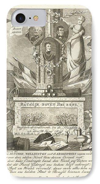 Commemorative Column Battle Of Waterloo, Cornelis Bogerts IPhone Case by Cornelis Bogerts