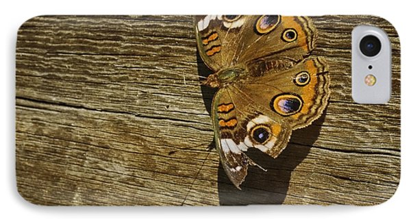 Common Buckeye With Torn Wing IPhone Case by Lynn Palmer
