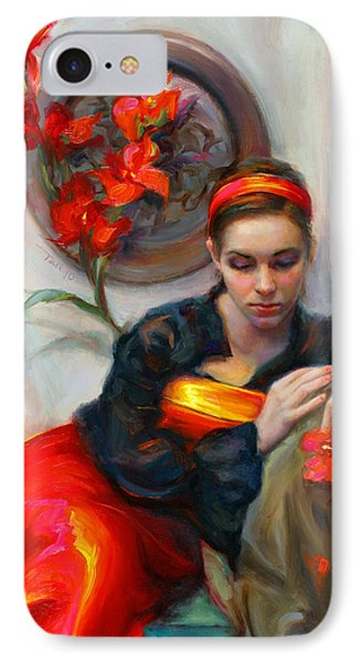 Common Threads - Divine Feminine In Silk Red Dress IPhone Case by Talya Johnson