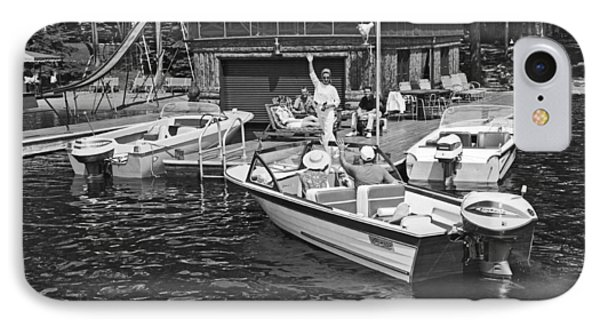 Company Arrives At The Cabin By Boat IPhone Case by Underwood Archives