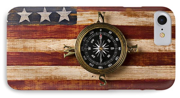 Compass On Wooden Folk Art Flag Phone Case by Garry Gay