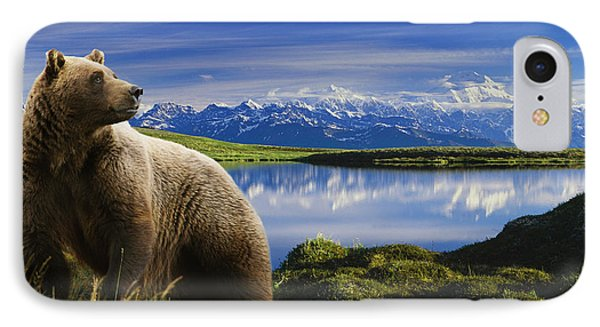 Composite Grizzly Stands In Front Of IPhone Case by Michael Jones