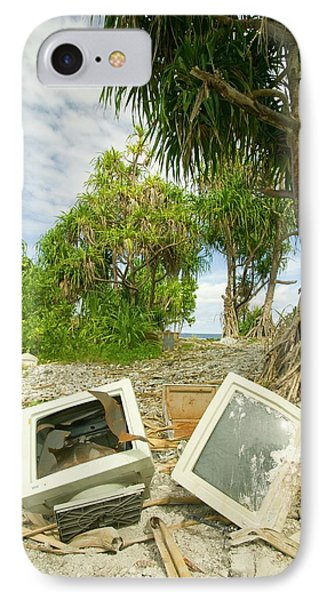 Computer Parts Discarded On Tuvalu IPhone Case by Ashley Cooper