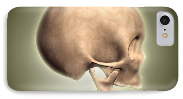 Conceptual Image Of Human Skull, Side Phone Case by Stocktrek Images