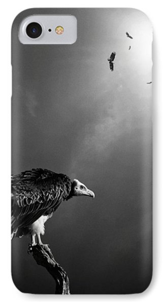 Conceptual - Vultures Awaiting IPhone Case by Johan Swanepoel