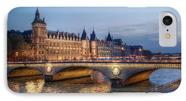 Conciergerie And Pont Napoleon At Twilight Phone Case by Jennifer Ancker