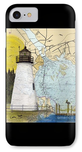 Concord Pt Lighthouse Md Nautical Chart Map Art Cathy Peek Phone Case by Cathy Peek