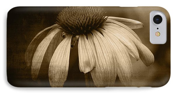 IPhone Case featuring the photograph Coneflower In Sepia by Marjorie Imbeau