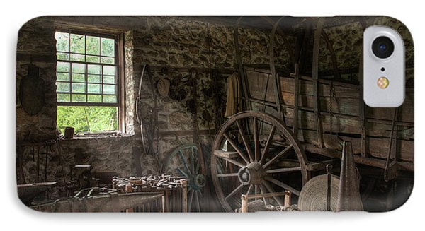 IPhone Case featuring the photograph Conestoga Wagon At The Blacksmith - Wagon Repair by Gary Heller