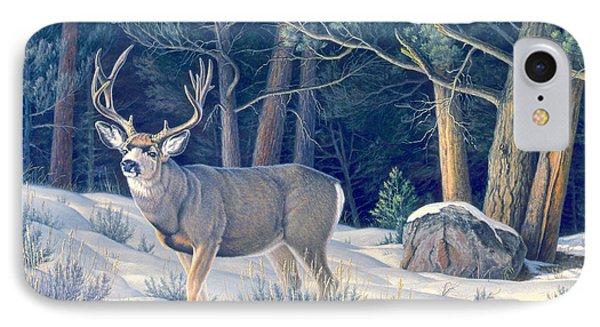 Confrontation - Mule Deer Buck IPhone Case by Paul Krapf