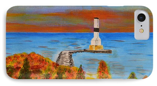Fall, Conneaut Ohio Light House IPhone Case by Melvin Turner