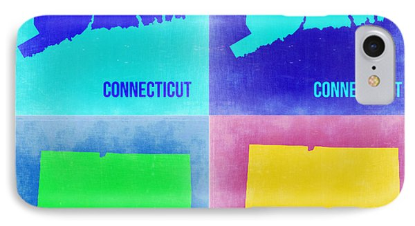 Connecticut Pop Art Map 2 Phone Case by Naxart Studio
