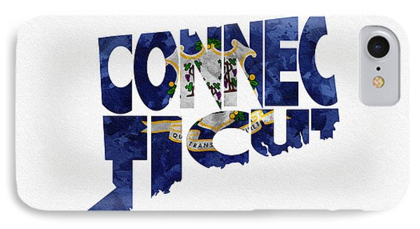 Connecticut Typographic Map Flag IPhone Case by Ayse Deniz