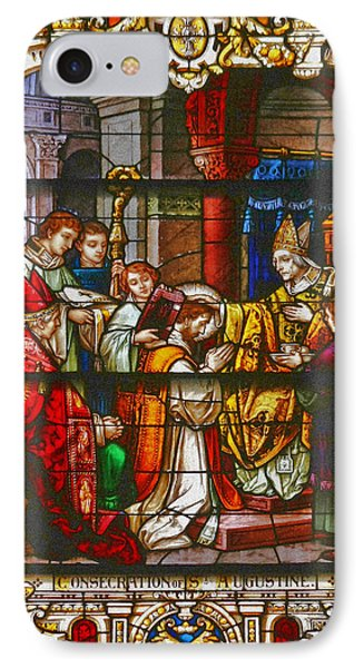 Consecration Of St Augustine Stained Glass Window Phone Case by Christine Till