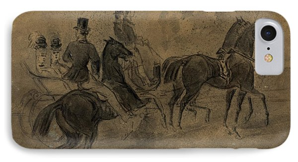 Constantin Guys, French 1805-1892, An Open Carriage IPhone Case by Litz Collection