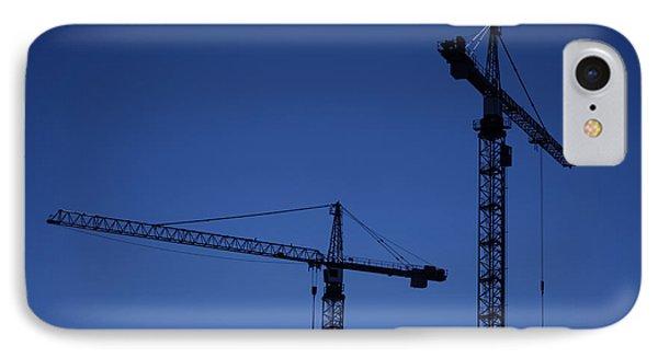 Construction Cranes At Dusk Phone Case by Antony McAulay