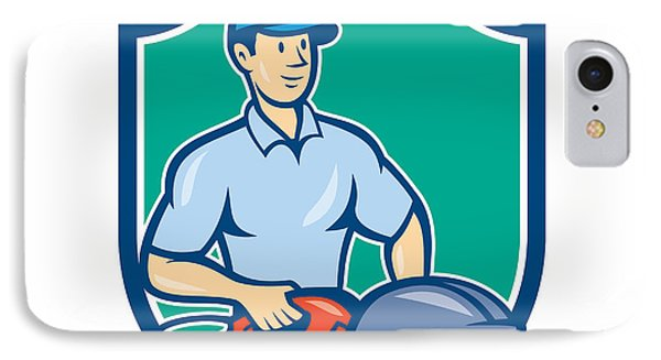 Construction Worker Concrete Saw Consaw Cartoon IPhone Case by Aloysius Patrimonio