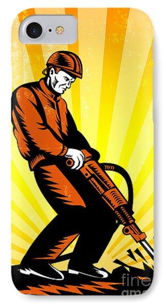 Construction Worker Jackhammer Retro Poster Phone Case by Aloysius Patrimonio