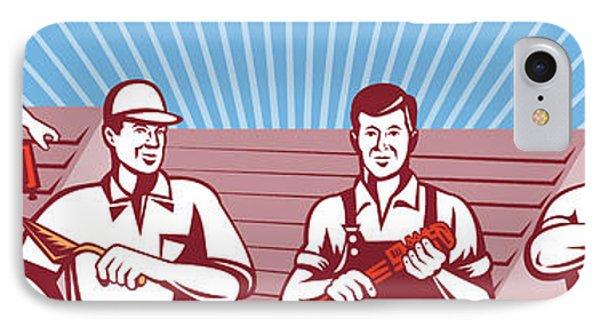 Construction Workers Tradesman Retro Phone Case by Aloysius Patrimonio