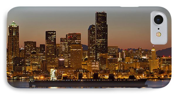 Container Ship On Puget Sound Along Seattle Skyline IPhone Case by Jit Lim