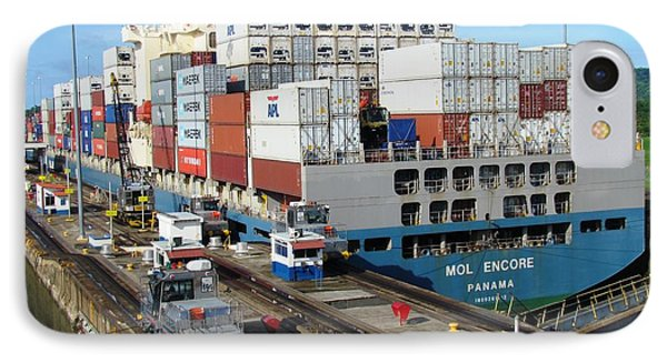 Container Ship IPhone Case by Ted Pollard