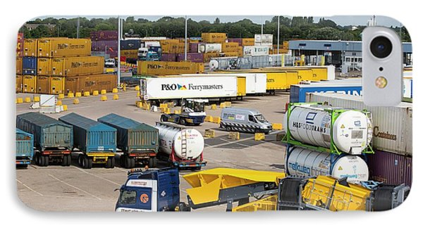 Containers On The Dockside In Hull IPhone Case by Ashley Cooper