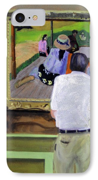 IPhone Case featuring the painting Contemplating Gauguin by Michael Daniels