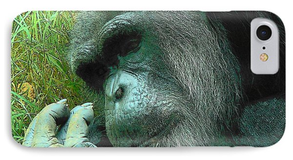 IPhone Case featuring the photograph Contemplative Chimp by Rodney Lee Williams