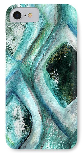 Contemporary Abstract- Teal Drops IPhone Case by Linda Woods