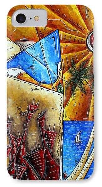Contemporary Coastal Nautical Tropical Martin Art Original Sailboat Painting Ocean View By Madart Phone Case by Megan Duncanson