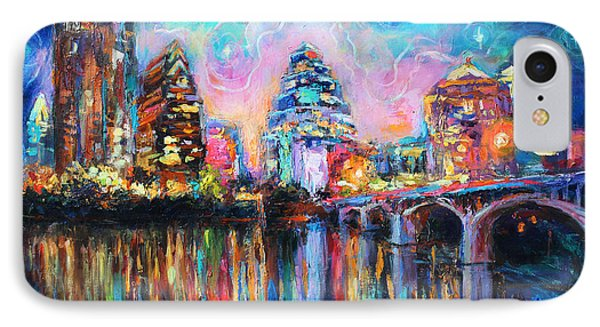 Contemporary Downtown Austin Art Painting Night Skyline Cityscape Painting Texas IPhone 7 Case by Svetlana Novikova
