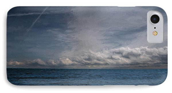IPhone Case featuring the photograph Contrails And Rainclouds Over Lake Michigan by John M Bailey