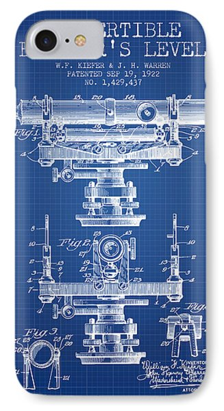 Convertible Builders Level Patent From 1922 -  Blueprint IPhone Case by Aged Pixel
